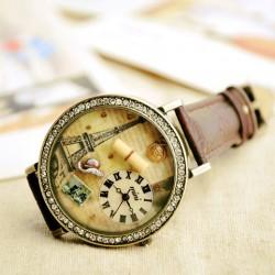 Retro Uhr des romantischen Paris-Turmkarikatur-Rhinestones