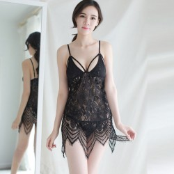 Sexy Dessous Strap Nachthemd Perspektive Pyjama Spitze transparent Erotisch Hohl Dessous