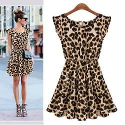 Lässig ärmelloses Leopard Chiffon-Kleid