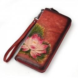 Retro Original handgemacht Lotus Blume Telefon-Handtasche Geprägte Brieftasche