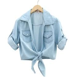 Frische blumige Washed Jeansstoff-halbe Hülsen-Hemd