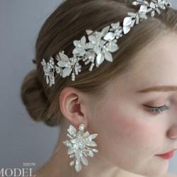 Frische Braut Kristall Haarschmuck Blume Perle Hochzeit Haarband Haarnadel Zubehör