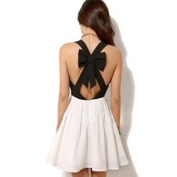 Einzigartige Neckholder Bogen Kontrast Farbe Chiffon-Kleid