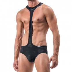 Sexy Bodysuit Mesh Breathable Hollow Panties Men's Conjoined Lingerie