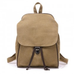 Retro Pure Farbe Einzelschnalle Reisetasche Leinwand Schulrucksack