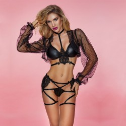 Sexy Durchsichtige Spitze Langarm Dessous PU Leder BH Bandage Tanga Schwarz Wet Look Clubwear Damen Dessous
