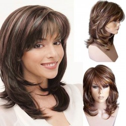 Neue braune Mischfarbe Langes lockiges Haar Kopfbedeckung Frauen gewelltes Haar Perücke
