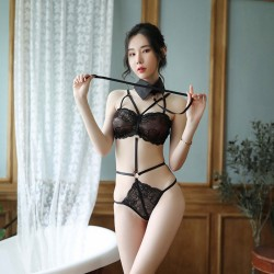 Sexy süße schwarze Spitze Uniform Verführung Leidenschaft Puppe verbunden Mädchen Dessous