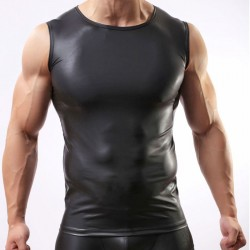 Sexy Hemd Dessous für Männer Schwarze Lacklederweste Eng anliegend Cool Intime Dessous des Mannes