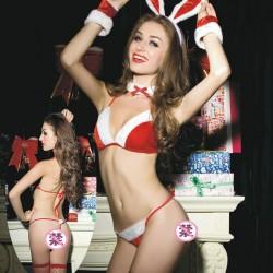 Sexy rot Weihnachten Bogen Hase Mädchenuniform BH-Set Intime Dessous