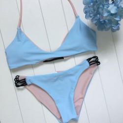 Blau und Rosa Wear Bikini Set Badeanzug Split Sided Bademode Badeanzug