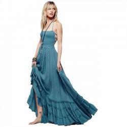 Sexy Backless Halter Big Pendel Lange Partykleid Strandkleid