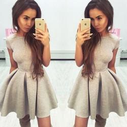 Mode Kurzarm Halfter Band Strap Partykleid Nähen Plissee Kleid