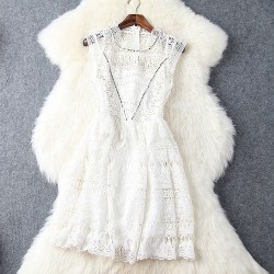 Elegantes Kragen-Niet höhlen heraus lösliche Blumen wulstige Spitze Dress & Party Dress aus