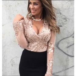 Frauen tiefe V-Ausschnitt Blumen Pailletten Langarm-Bluse
