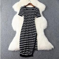 Neu Frau Schlank Irregulär Schwarz Und Weiß Streifen Kleid & Party kleid