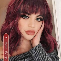 New Wine Red Medium Wavy Curly Women's Hair Wig