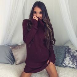Sexy hochgeschlossenes langärmeliges Pulloverkleid
