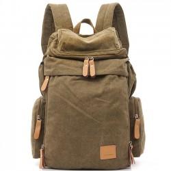 Retro Camping Zippered Rucksack Waschende Farbe Segeltuch Ausziehbar Grosse Kapazität Reise Rucksäcke