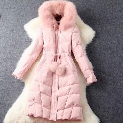 Einzigartige Kapuze lange Daunenjacken Super Fox Pelzkragen Wintermantel Outwear Winterjacke