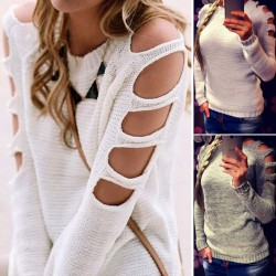 Mode Damen Ärmel ausgehöhlte Sexy Pullover Rundhalsausschnitt Pullover