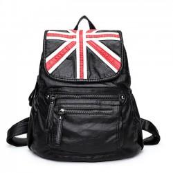 Freizeit britischen Stil Weiches PU Leder Doppelt Reißverschlüsse Schule Schwarz Reiserucksack