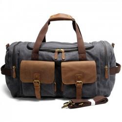 Retro Echtes Leder Multi-Pocket Gepäcktasche Sport Handtasche Groß Kapazitätsreise Laptop Dick Segeltuch Schultertasche