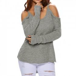 Mode Damen V-Ausschnitt ganze Farbe trägerlos länger hinten Sexy Sweatshirt