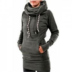 Lässige Heaps Kragen mit Kapuze Langhülse Tasche zurück bestickt Fleece lange Pullover Damen Pullover