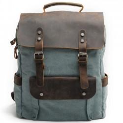 Retro Groß Dickes Segeltuch Reisetasche Spleißen Leder Laptop Camping Rucksack