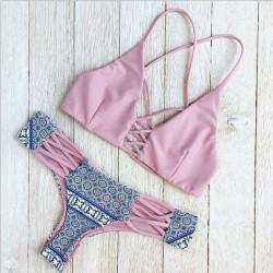 Neu Rosa nett Doppelseitiger Bikini Sued Floral Gürtel Badeanzug
