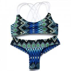 Neue Reizvolle Folk Pfau Drucken 3 Schlinge Bikinis Badeanzug