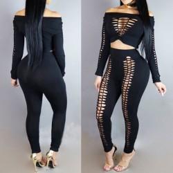 Sexy Frauen vorne aushöhlen große Größe Punk Bandage Boot Neck Top Hosenanzug