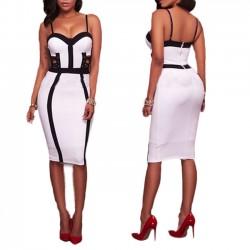 Unique Spleißen ausgehöhlten Hosenträger Frauen Sexy Weiß Schwarz Rock Kleid