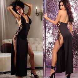 Sexy schwarze Seite gebundenen langen Kleid Frauen Dessous