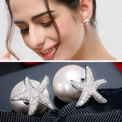 Nette silberne Kristalldiamant-umrandete Starfish Amphibious Perlen-Frauen Ohrring-Bolzen