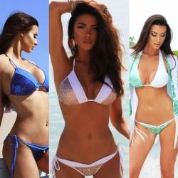 Sommer Frauen Kontrast Farbe Badeanzug Sexy Pailletten Spleißen Backless V-Ausschnitt Bikinis