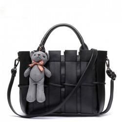 Retro Bär Weben Schultertasche Umhängetasche Handtasche Damentasche