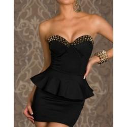 Einzigartige Kühle schwarze Niet Abschlagsstelle Kleid
