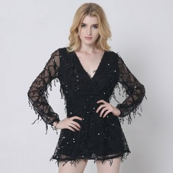 Quasten Party Kleid Pailletten Langarm tiefem V-Ausschnitt Bling glänzender Rock