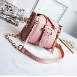 Fashion Double Vertical Zipper Lady Single Buckle Shoulder Bag Chain Messenger Bag