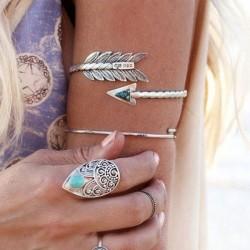 Frauen Retro Armreif Swirl Spirale Armband Arm Manschette Armlet oberen Stein Pfeil Armband