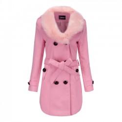 Elegante haarige Pelzkragen Doppelknopf hohen Kragen Winter warme Frauen Mantel