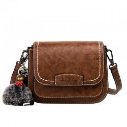 Retro Braun Bärendekor Umhängetasche One Shoulder Multilayer PU Satteltasche für Frauen Umhängetasche