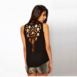Mode Geometrie aushöhlen Schlank Rundhals T-Shirt