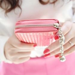Mode Reißverschluss Lackleder Geometry Geprägte Brieftasche