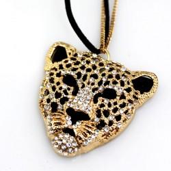 Böhmen Leopard Kopf Hohle Strickjacke Halsketten