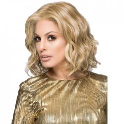 Modische realistische weiße Dame helle goldene mittlere getrennte mittlere lockige Haarperücken