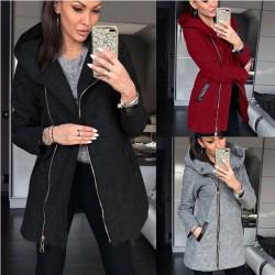 Mode Seitlicher Reißverschluss Plus Fleecemantel Kapuzenjacke Winter Sweatshirt Damenmantel