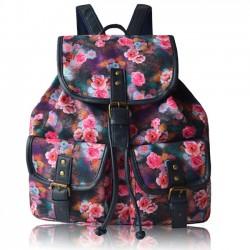 Volk Bunt Blumen Rucksack Spleißen PU Zwei Taschen Blumen Mädchen Segeltuch Rucksack